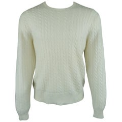 Ralph Lauren Off White Cable Knit Cashmere Sweater