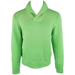 Ralph Lauren Green Knitted Silk Shawl Collar Sweater