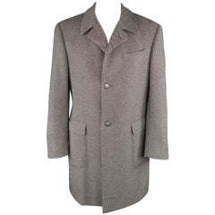 Corneliani Black and White Diagonal Stripe Wool Blend Patch Pocket Coat