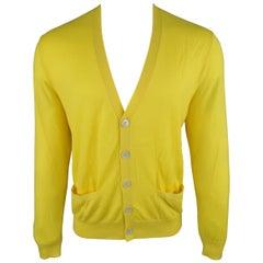 RALPH LAUREN Size L Yellow Solid Cashmere V-neck button Cardigan