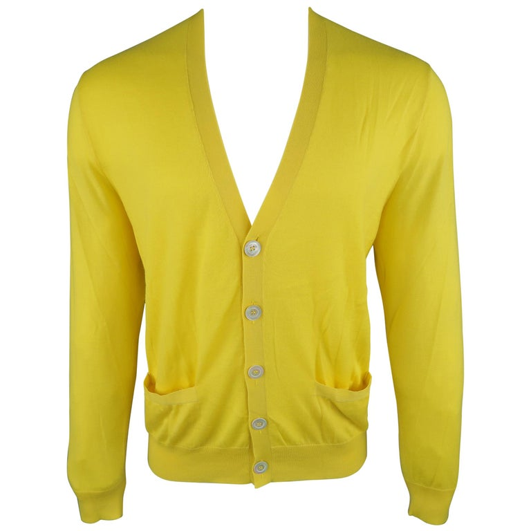 3d16b7d20a Ralph Lauren Medium Yellow Solid Cashmere V-neck button Cardigan For Sale. Ralph  Lauren Purple Label Size M ...