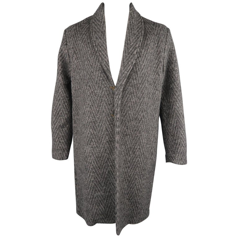 aafcf1c1 Levi's Made and Crafted Charcoal Gray Chevron Wool Shawl Collar Lapel Coat  For Sale