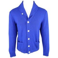 Ralph Lauren Royal Blue Solid Cashmere Button Cardigan