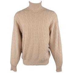 Ralph Lauren Camel Cable Turtleneck Cashmere Sweater