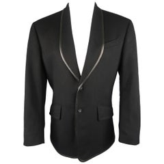 Thierry Mugler Black Wool / Cashmere Leather Trimmed Shawl Collar Sport Coat