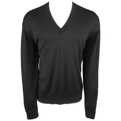 Dolce & Gabbana Black Cashmere V-neck Pullover
