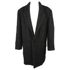 Gianni Versace Black Textured Wool / Mohair Single Button Overcoat
