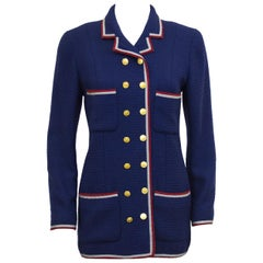 1980's Chanel Deep Blue Military Style Wool Blazer