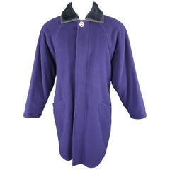Gianni Versace Purple Wool Fur Collar Medusa Button Coat