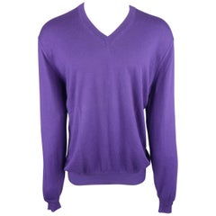 Stephen Kempson Purple Solid Cashmere V-neck Pullover