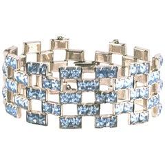 Channel Set Faux Aquamarine Paste Bracelet