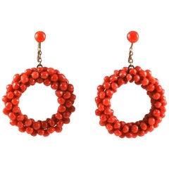 Italian Coral Hoop Earrings