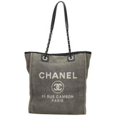Chanel Gray / Black Small Deauville Tote