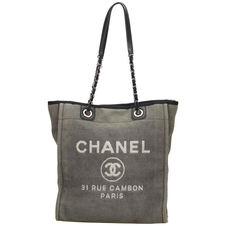 63751b46ac8b Chanel Gray / Black Small Deauville Tote at 1stdibs