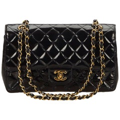 Chanel Black Classic Medium Patent Leather Double Flap Bag