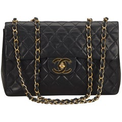 Chanel Black Classic Maxi Lambskin Leather Single Flap Bag