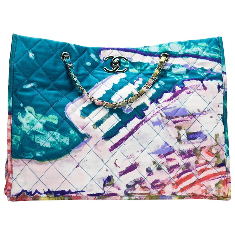 Chanel Graffiti Watercolor Limited Edition Tote Turquoise Nylon Beach Bag