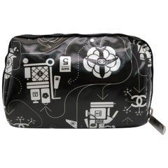 Chanel Case Airline Airplane Make Up Vanity Pouch Cosmetic Nylon O-Case