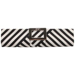 Roger Vivier black and white tube clutch