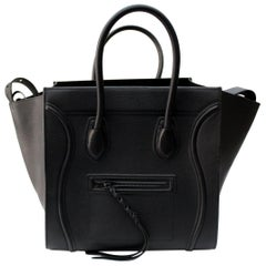 Cèline Black Grained Leather Mini Luggage Tote Bag