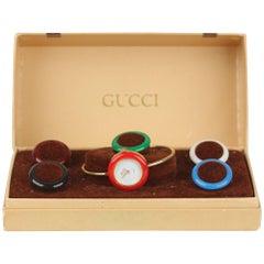 Gucci Vintage Golden 6 Bezel Wrist Watch Bracelet Bangle Rare