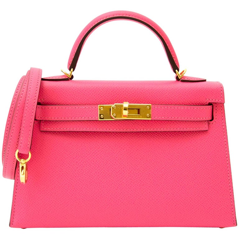 fc102dd42a6f Hermès Kelly II Mini Veau Epsom Rose Azalee GHW Bag For Sale at 1stdibs