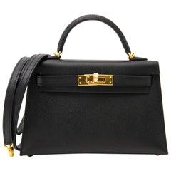 Hermes Kelly Mini II 20cm black epsom GHW Bag