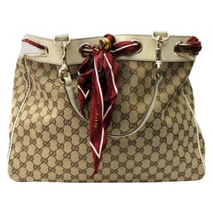 Gucci Beige/White GG Canvas Positano Large Tote Bag