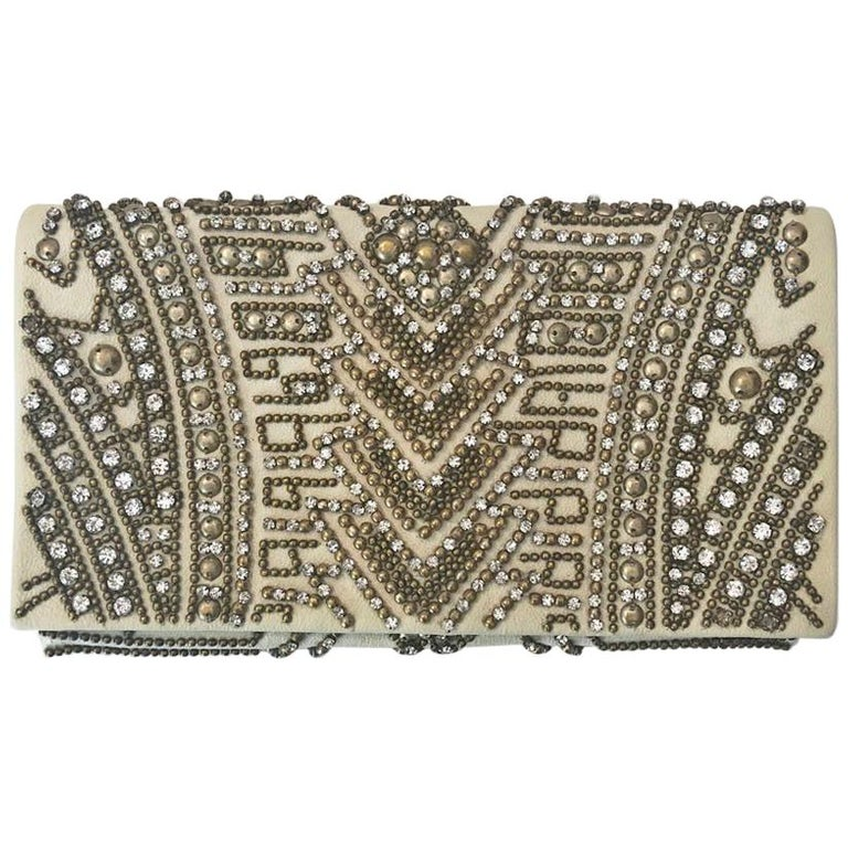 Balmain Cream Embellished Clutch
