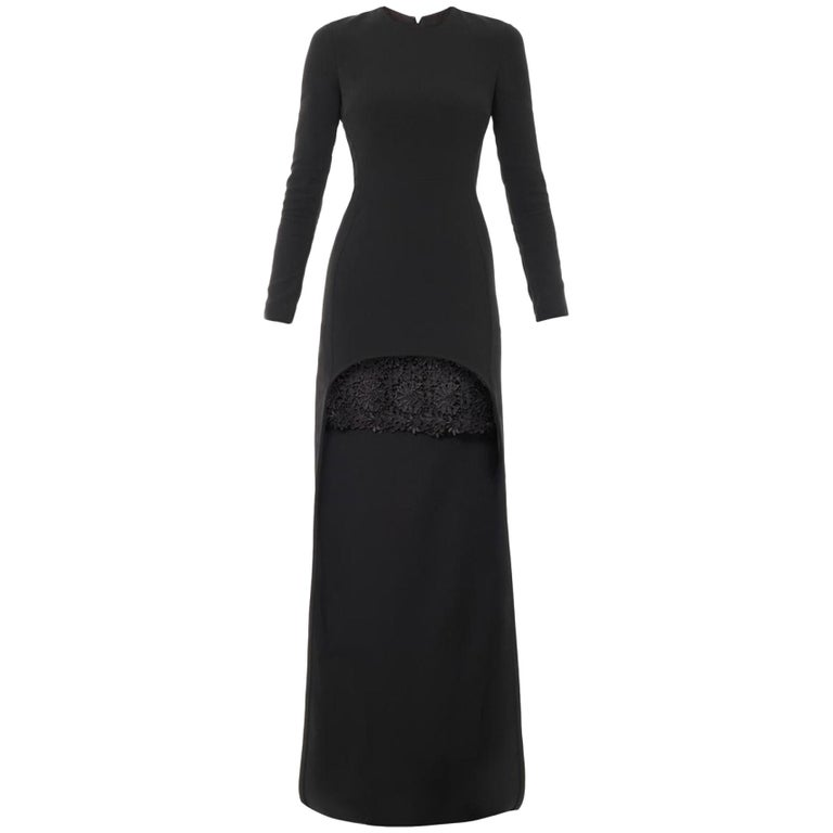 Stella McCartney Millie Cady Lace Trim Long Dress For Sale