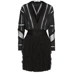 Givenchy Ruffled Silk Chiffon-Trimmed Jersey Mini Dress