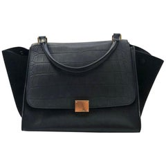 Celine Trapeze Medium Embossed Croc Flap