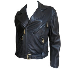 1990s Gianni Versace Perforated Sides Leather Jacket