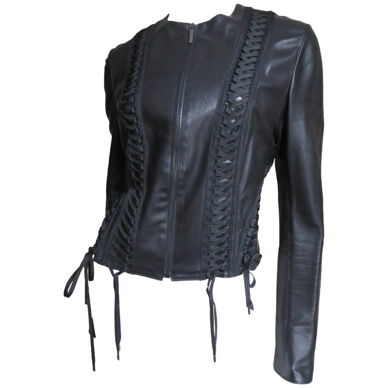 1990s Christian Dior Leather Jacket with Lacing