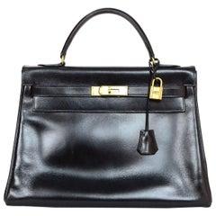 Hermes Vintage 1970s Black Box Leather 32CM Retourne Kelly Bag w. Gold Hardware