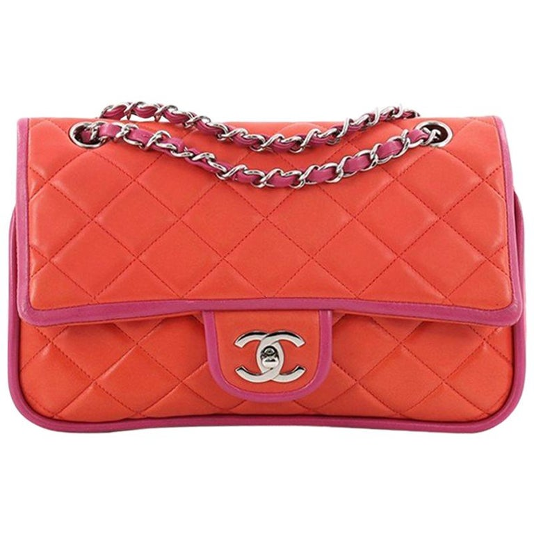 63200f9f3b114 Chanel Vintage Two Tone Classic Double Flap Bag Quilted Lambskin Medium For  Sale