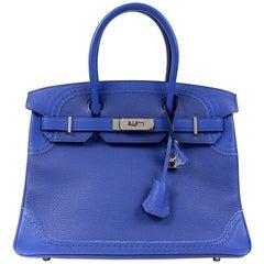 Hermès Blue Electrique Togo 30 cm Ghillies Birkin Bag