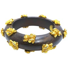 Dominique Aurientis Frogs Vintage Gold and Wood Bangle Bracelet