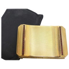 Vintage Deco 1940's Stratten England Gold & Ruby Rhinestone Compact