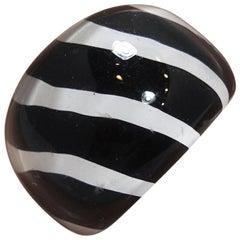 Vintage 1960s Black & White Stripe Lucite Ring