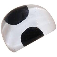 Vintage 1960s Black & White Lucite Ring