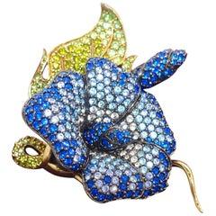 "Vintage Signed Joan Rivers 3-Dimensional Crystals 3"" Floral Brooch"
