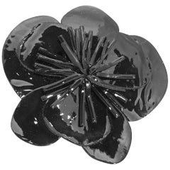 Vintage Signed Anne Fontaine Italy Black Floral Brooch