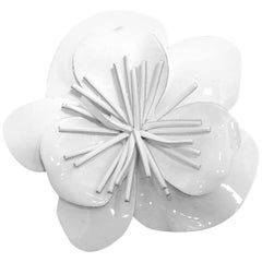 Vintage Signed Anne Fontaine Italy White Vinyl Floral Brooch