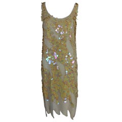 Swee Lo Beaded Iridescent Paillette 1920s flapper style dress, 1980s