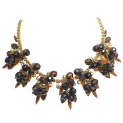 Vintage Topaz Rhinestone Bib Necklace – Juliana?