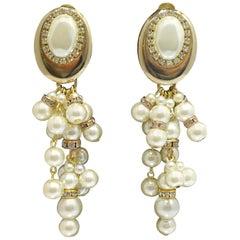 Vintage Signed DeMario Faux Pearl Drop Earrings