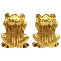 Vintage Signed Dominique Aurientis Frog Earrings