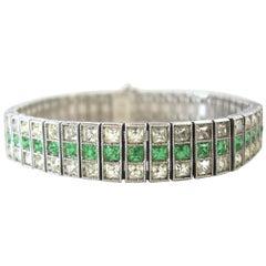 1930s Art Deco Vintage Faux Emerald Bracelet