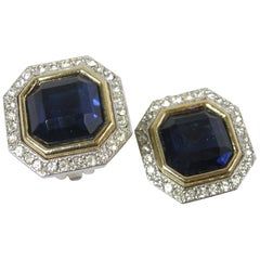 Vintage Rhinestone Hexagon Royal Blue Earrings